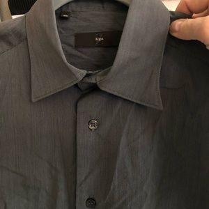 Zegna designer gray button down shirt 39 XL